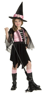 Girls Glamour Witch Wicked Pink Black Cute Halloween Kids Child Costume - Glamour Girl Halloween Costume
