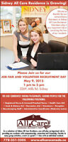 Sidney All Care Residence Job Fair and Volunteer Recruitment Day