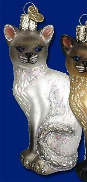 GRAY SIAMESE KITTY CAT OLD WORLD CHRISTMAS GLASS FELINE BREED ORNAMENT NWT 12243