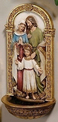 "New! 7"" Holy Family WALL FONT Holy Water Mary Madonna Joseph Jesus Baby Gift"
