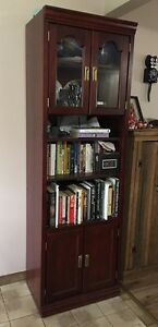 Cherry coloured wood cabinet bookcase