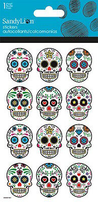 12 Glitter  Day Of The Dead Dia De Los Muertos Stickers Party Favors Sugar - Sugar Skull Party Supplies