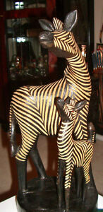 African Hand Carved Wooden Zebra with Baby Zebra