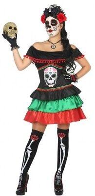 Damen Mexikanisch Tag der Toten Skelett Kostüm Kleid Outfit 8-22Plus Größe