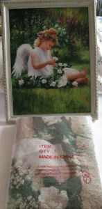 Little Girl Angel Wall Picture & Matching Tapestry Throw 2PC New