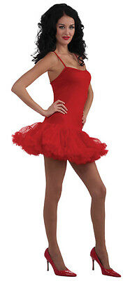 Damen Rote Netz Tütü Kleid Petticoat Tanz Kostüm Neu 10-14