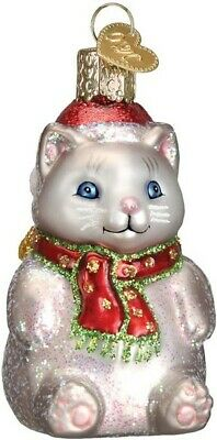 Old World Christmas 12447 Glass Blown Winter Kitty Ornament