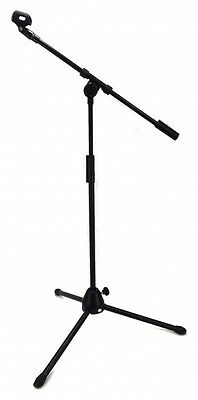 LOW PROFILE BOOM MICROPHONE STAND 5' FEET ADJUSTABLE HEIGHT MIKE CLIP TRIPOD NEW