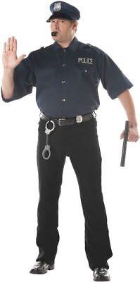 Adult Plus Size Cop Shirt And Hat Costume - Cop Kostüme Shirt