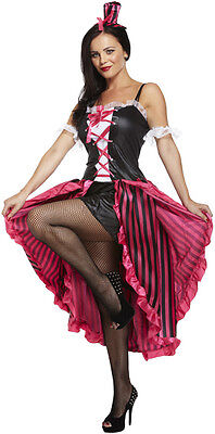 Sexy Can Can Burlesque Moulin Rouge Fancy Dress Costume Size 12 - 14