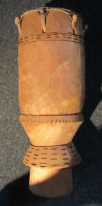 Mid century African? Peg Large Drum 29 inches tall 9.5 inch dia.