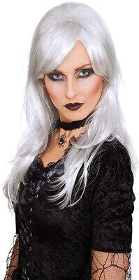Vampirin Dark Angel Hexe Perücke weiß grau Grusel - Weiße Hexe Perücke