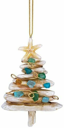 Resin Driftwood Christmas Tree with Tumbled Sea Glass Ornament NWT Cape Shore