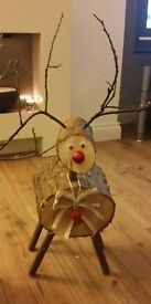 Christmas xmas reindeer decoration ornament real wood