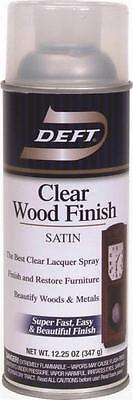 NEW DEFT 017-13 12 OZ SPRAY SATIN LACQUER CLEAR WOOD FINISH SEALER 7976293 Spray Wood Finish