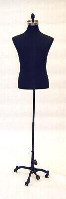 Mens Adult Pinnable Black Torso Mannequin Shirt Form With Black Wheel Base