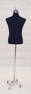 Mens Adult Pinnable Black Torso Mannequin Shirt Form With Chrome Wheel Base