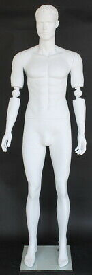 New 6 Ft 1 In Male Mannequin With Bendable Arms Featured Face White Sfm20wt