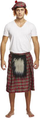 Herren Kostüm Outfit Schottisch Kilt Braveheart Hut Felltasche Kostüm