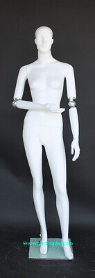 New 5 Ft 10 In Female Mannequin With Bendable Arms Feature Face Bald Head White