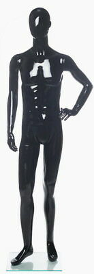 New 5 Ft 11 In Small Size Male Abstract Head Mannequin Glossy Black Sfm73e-hb