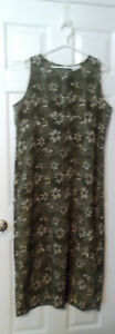 green flowered print sleeveless dress ladies XL (16-18)