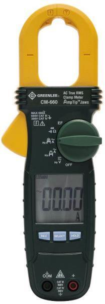 GREENLEE CM-600 CLAMP ON LCD 600 VOLTAGE AC AMP METER ELECTRICAL TESTER 3442829