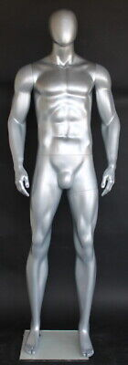 6 Ft 4 In Male Abstract Head Mannequin Athletic Body Shape Matte Silver Sfm52est
