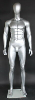 6 Ft Tall Male Mannequin Abstract Head Muscular Body Shap Silver Color Sfm29e-st