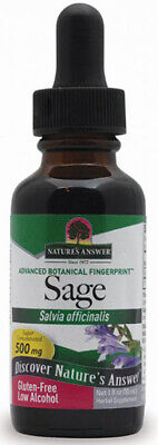 NATURES ANSWER - Sage Leaf Extract Gluten Free Low Alcohol - 1 fl. oz. (30 ml) Extract Low Organic Alcohol