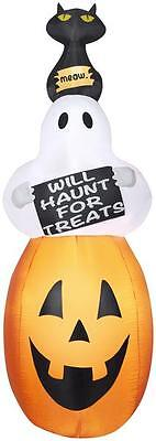 Gemmy 7' Airblown Ghost Will Haunt For Treats Halloween - Yard Decorations For Halloween
