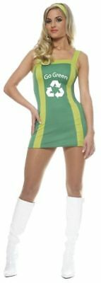 Sexy Adult Womens Go Green Girl Recycle Halloween Costume Dress Eco Friendly Med