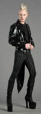 SHRINE VINYL GOTHIC VAMPIRE VICTORIAN TAILCOAT COAT JACKET LATEX LOOK FETISH Clothing, Shoes & Accessories