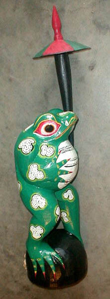 Frog Statue Large 20 inch wood with umbrella Hand made in Bali Bright colors