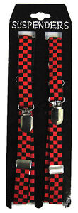 Goth-PUNK-Red-Black-Checkered-Braces-Skinny-Suspenders