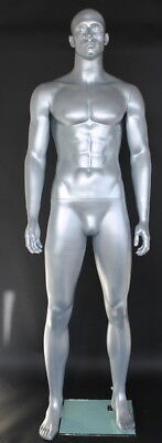 New 64h Matte Silver Finished Muscalur Male Mannequin Body Form Torso Sfm6st