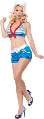 Pin up Girl Sexy Navy Shore Leave Sailor Adult Womens Pinup Halloween Costume XS - Navy Pin Up Girl Costume