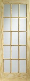 Howdens Joinery Knotty Pine 15 Pane Glazed Door (838 x 1981mm)