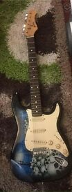 Blue and black skulls jaxville electric guitar