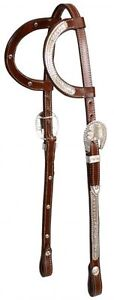 WESTERN-2-EAR-SHOW-BRIDLE-HEADSTALL-W-7-SPLIT-REINS-MEDIUM-OIL-GREAT-W-SADDLE