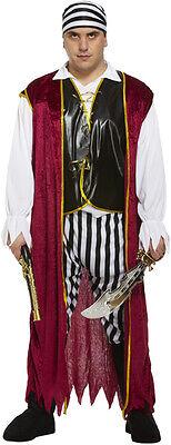 Plus Size Pirate Kostüm (ADULT PIRATE CARIBBEAN MENS/MANS PLUS SIZE XXL FANCY DRESS OUTFIT/COSTUME NEW)