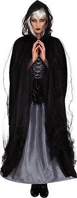 Orl - Damen Kostüm Umhang in schwarz mit Tüll zu Halloween Vampirin (Kostüm In Halloween)