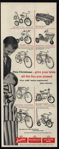 1955 AMF ROADMASTER Bicycles - Bikes - Trikes - Cars - Wagons - VINTAGE AD