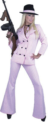 Pink Gangster Moll Suit Mobster Pinstripe Halloween Adult Womens Costume - Gangster Moll Costumes