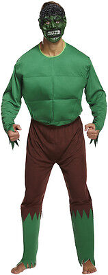 Mens Green Monster Super Hero Green Giant Fancy Dress Costume Size L-XL P7318