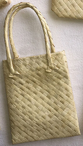 "4 Weaved Buri Gift Tote Bags Hawaiian Basket Storage Hawaii Hula Supply 7""x5""x2"""