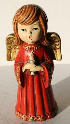 Angel Figure Christmas Caroling with Red Jewel Made in Japan Ardco Dallas-Label