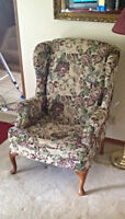 Antique winged back chair