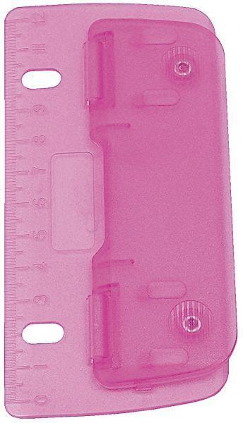 Wedo Locher Taschenlocher Reiselocher Lineal mini flach abheftbar, rosa