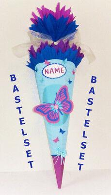 Bastelset Schultüte Schmetterling hellblau pink Zuckertüte